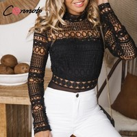 Conmoto Sale in Advance Sexy Hollow Out Lace Embroidery Bodysuit Women Mesh Long Sleeve Bodysuits Skiny Bodysuit Romper