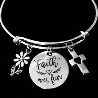 Faith Over Fear Jewelry Expandable Charm Bracelet Silver Adjustable Bangle One Size Fits All Gift Cross Daisy
