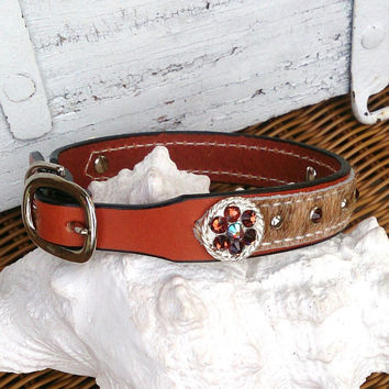 Western Leather Dog Collar, Concho Dog Collar, Hair On Hide, Swarovski Crystal, Pet Collar, 18 Inch Collar, Brown Leather