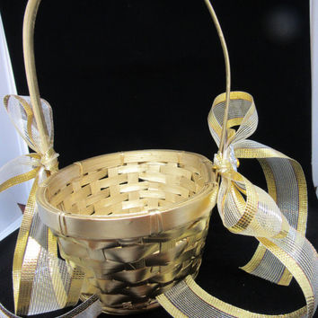 Vintage Gold Oval Woven Flower Girl Basket- Gold Bow-Crystal Bling Flower Accents-Wedding-Gift-Storage-Home Decor-Cottage Chic-Country Decor