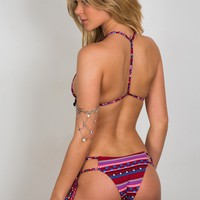 Soah Swimwear Evan Bikini Bottom - Red Tribal