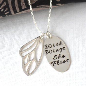 Hand-Stamped Butterfly Necklace- With Wings She Flies