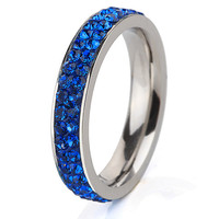 Fashion Stainless Steel Ring Double Thin Blue Lines Police Crystal Jewelry