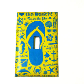Light Switch Cover - Light Switch Plate I Love the Beach Flip FLop