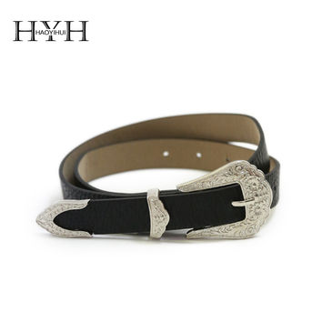 HYH HAOYIHUI 2016 Brand New Autumn Fashion Women Faux Leather Carving Metal Buckle Black PU Western Inspired Buckle Belt