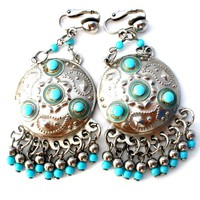 Boho Turquoise Blue Earrings Vintage Dangle