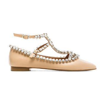 Jeffrey Campbell Gaby Embellished Flat in Beige