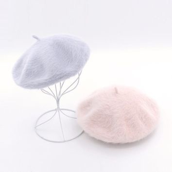 Womens Winter Hats Angora Beret Warm Classic French Painters Beret 2017 Vintage Berets Fashion Chic Soft Ladies Hat 675067