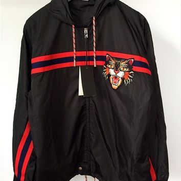 GUCCI Women/Men Nylon windbreaker with Angry Cat applique-1
