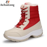 New Winter Women's Boots Fashion Wedges Waterproof Snow Boots Mid-Calf Leather Warm Plush Boots Women Shoes Red Black Eur 35-41
