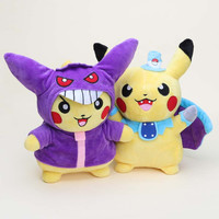27cm 2Styles Pokemon Go Pikachu Cosplay Batman and Gengar Stuffed Soft Plush Toy Dolls Collectible Gifts for Kids