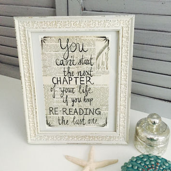 Motivational Quote on Vintage Dictionary Paper; Shabby Chic Frame with Inspirational Saying; Vintage Painted Frame; Shabby Chic Wall Art;