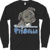 Real Girls Rescue Pitbulls-Unisex Black T-Shirt