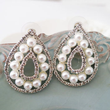 Art Deco Style Large Drop Bridal Pearl Rhinestone Earrings - Wedding Jewelry - Silver, Crystal Stud