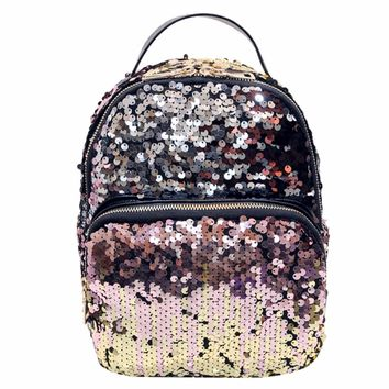 Women School Bags Princess Bling Backpack Bag All-match Small Travel Sequins Backpack