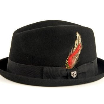 Brixton Men's Gain Felt Fedora Hat, Black Felt, L