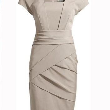 U Neck Pleated Cap Sleeve Office Lady Women's Sheath Dress