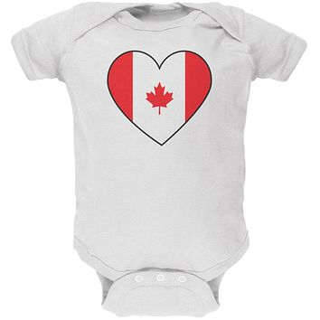 Canada Day Canadian Flag Heart Soft Baby One Piece