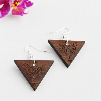 Triangle Pendant Earrings Brown Wood Earrings Laser Cut Triangle Wood Swarovski Earrings Wood Pendant Earrings MF Lasercut Jewellery Gift