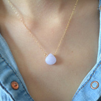 Beautiful Lavender Jade Heart Necklace, Jade Stone, 14K Gold Filled Chain, also can be made in Sterling Silver