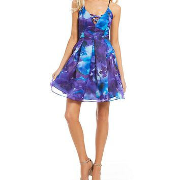 Jump Watercolor Floral Print Fit-And-Flare Dress | Dillards