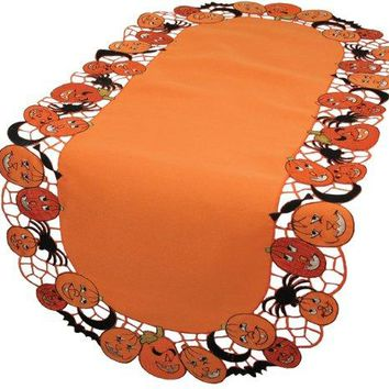 Xia Home Fashions Happy Jack-O-Lanterns Halloween Table Runner, 16 by 34-Inch
