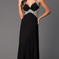 Open Back Floor Length Sleeveless Dress