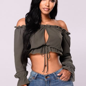 Front Lines Ruffle Top - Olive
