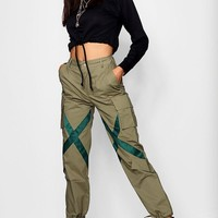 Satin Tape Utility Cargo Trousers | Boohoo