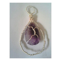 Wire wrapped rough amethyst