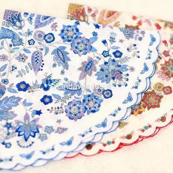 Good quality floral Round handkerchief,pocket hankerchief,womens vintage handkerchiefs
