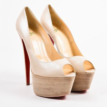 DCCK Christian Louboutin Nude Leather Wooden Platform   Jamie   Pumps
