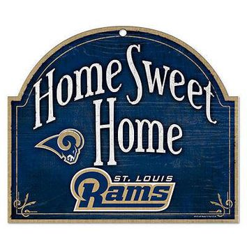 "ST. LOUIS RAMS HOME SWEET HOME ARCHED WOOD SIGN 10""x11"" BRAND NEW WINCRAFT"