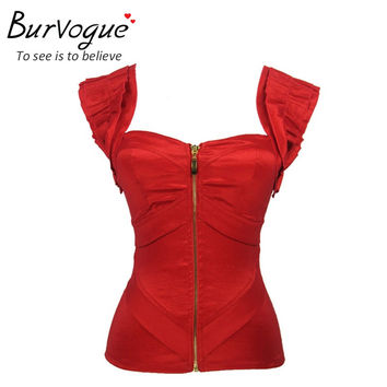 Burvogue fashion woman push up summer tank tops red satin corset top zipper bustiers with straps prom top corset cropped S-2XL