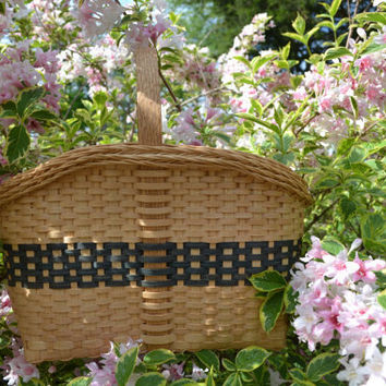 Handwoven Market Tote Basket with Gretchen Border