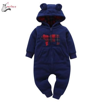2017 winter warm baby clothes Infant Baby Boys Girls Thicker Print Hooded Romper Jumpsuit Outfit Kid Clothes cute soft 0-24M  zk