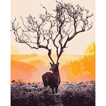Deer Tree Antlers DIY Hand Painting By Numbers Paint By Numbers Oil Painting
