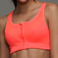 Orange Zipper Yoga Sport Bra for Womens