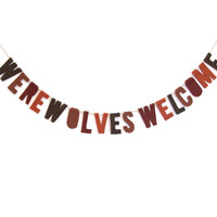 Werewolves Welcome felt party banner, halloween banner in brown, whiskey and chocolate