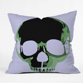 Amy Smith Green Skull 1 Throw Pillow