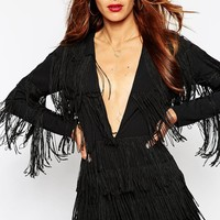 ASOS Playsuit with Plunge Neck with All Over Fringing