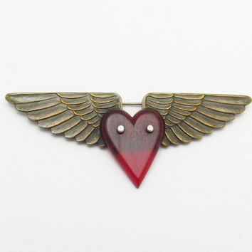 Marine Wings Brooch Red Heart Military Sweetheart Jewelry P7169