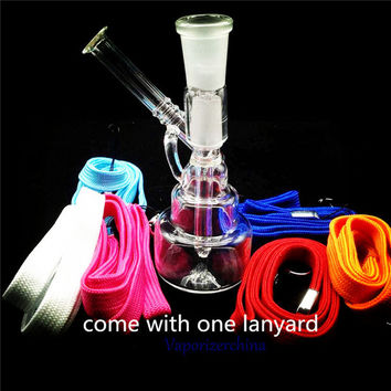 Mini Oil Rig Glass Bongs 14.4mm with Glass Dome and Nail Water Pipes with Neck Ring Ash Catcher Hookah Pipe In Stock
