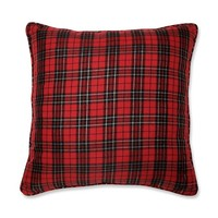 Holiday Plaid Red Rectangular Throw Pillow- Pillow Perfect