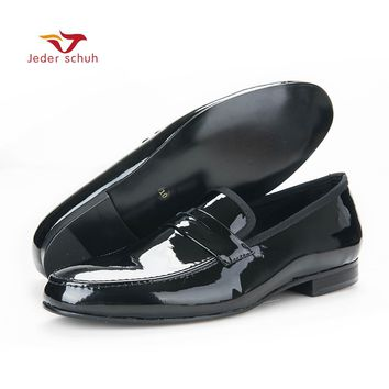 2017 casual shoes fashion Black Patent Leather Shoes Men Party and Wedding Loafers Men Flats Size US 6-14 Free shipping