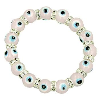 Swarovski Crystals Pink Evil Eye Protection Bracelet