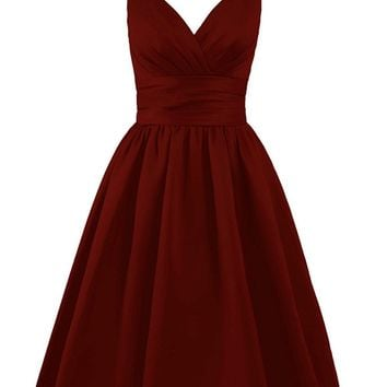 Fashion Plaza Women's Sexy 1950s Bridesmaid Dress V Neck with Ruffles Short Evening Party Gown