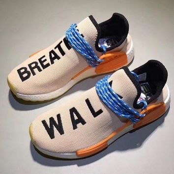 Adidas Human Race nmd Fashion Casual Running Sports Shoes Embroider Letter For Women Men Orange