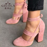 Fashion High Heels Women Pumps Platform Women Shoes Lace Up Shoes Woman Best Quality Thin Heels Black Pink #Y0617019Q