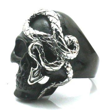 316L Stainless Steel Cool Punk Gothic Black Skull Silver Snake Newest Ring Free Shipping
